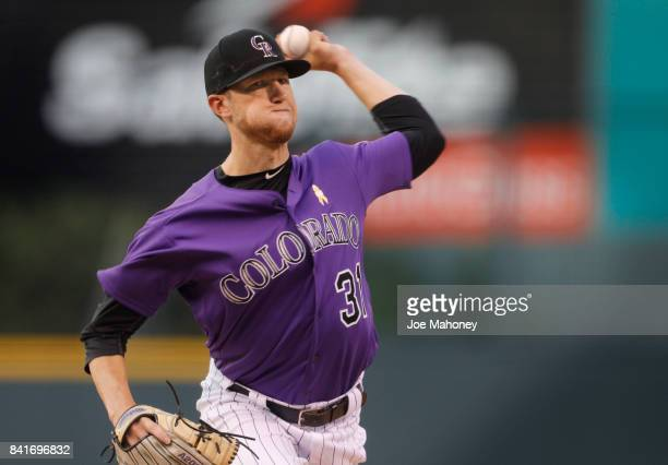 Starting pitcher Kyle Freeland of the Colorado Rockies pitches against the Arizona Diamondbacks in the first inning at Coors Field on September 1...