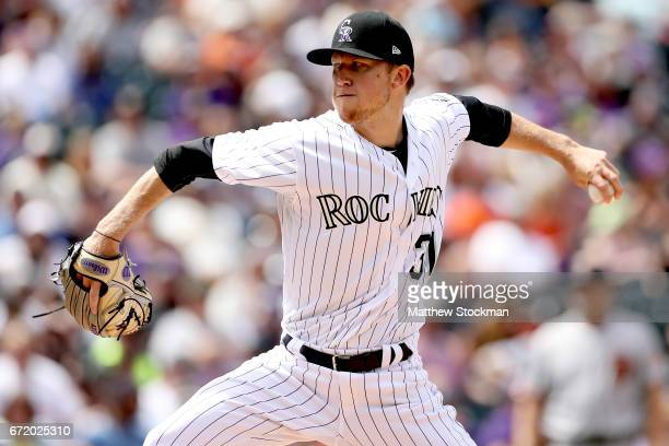 Starting pitcher Kyle Freeland of the Colorado Rockies throws in the fifth inning against the San Francisco Giants at Coors Field on April 23 2017 in...