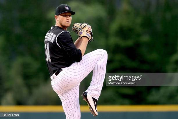 Starting pitcher Kyle Freeland of the Colorado Rockies throws in the first inning against the Chicago Cubs during the second game of a double header...