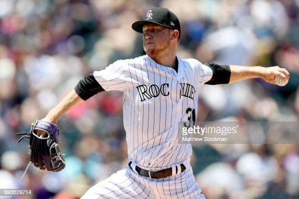 Starting pitcher Kyle Freeland of the Colorado Rockies throws in the second inning against the Cleveland Indians at Coors Field on June 7 2017 in...