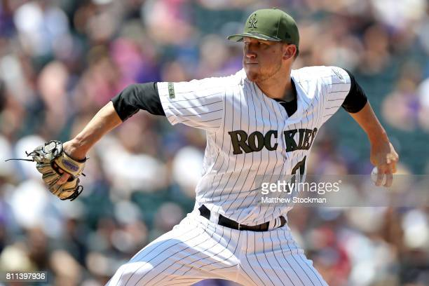 Starting pitcher Kyle Freeland of the Colorado Rockies throws in the first inning against the Chicago White Sox at Coors Field on July 9 2017 in...