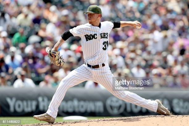Starting pitcher Kyle Freeland of the Colorado Rockies throws in the fifth inning against the Chicago White Sox at Coors Field on July 9 2017 in...