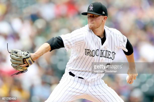 Starting pitcher Kyle Freeland of the Colorado Rockies throws in the first inning against the Pittsburgh Pirates at Coors Field on July 23 2017 in...