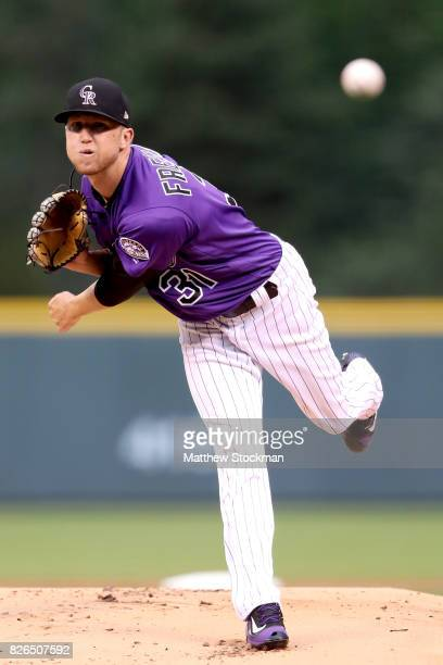 Starting pitcher Kyle Freeland of the Colorado Rockies throws in the first inning against the Philadelphia Phillies at Coors Field on August 4 2017...