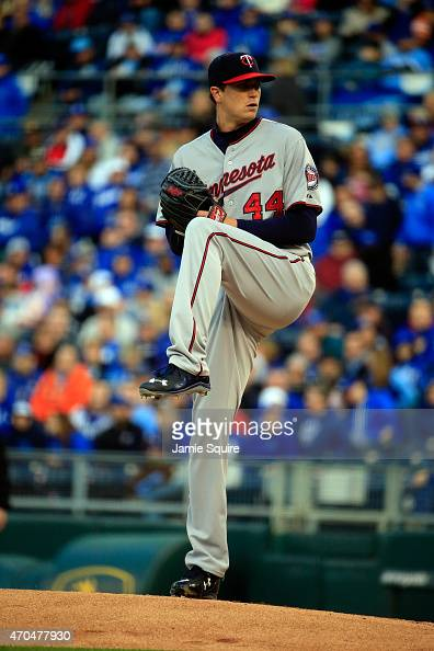 Starting pitcher Kyle Gibson of the Minnesota Twins pitches during the game against the Kansas City Royals at Kauffman Stadium on April 20 2015 in...