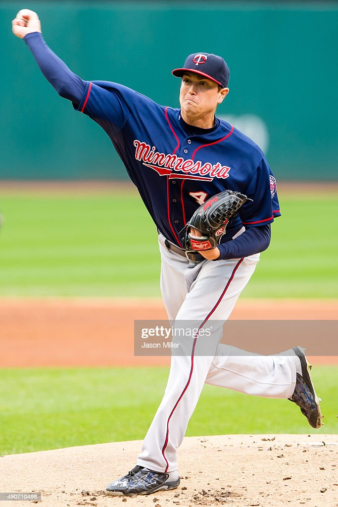 Starting pitcher Kyle Gibson of the Minnesota Twins pitches during the first inning of game one of a double header against the Cleveland Indians at...