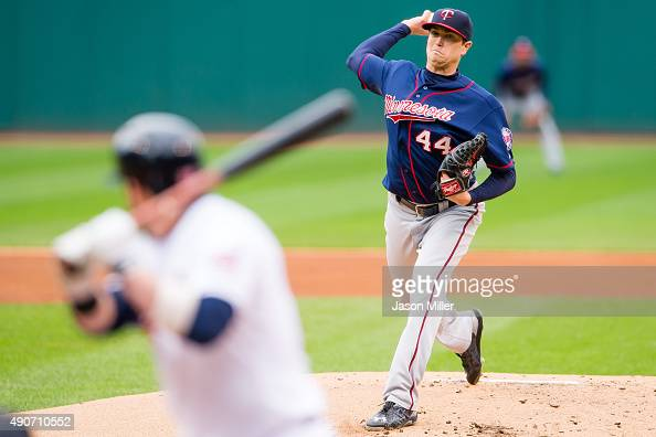 Starting pitcher Kyle Gibson of the Minnesota Twins pitches to Jason Kipnis of the Cleveland Indians during the first inning of game one of a double...