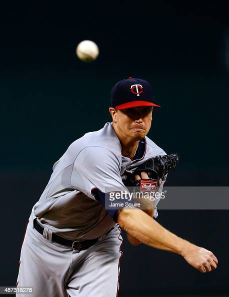 Starting pitcher Kyle Gibson of the Minnesota Twins warms up prior to the game against the Kansas City Royals at Kauffman Stadium on September 8 2015...
