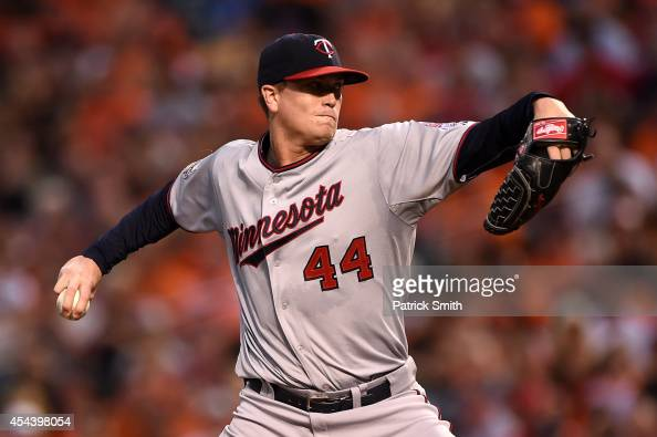 Starting pitcher Kyle Gibson of the Minnesota Twins works the first inning against the Baltimore Orioles at Oriole Park at Camden Yards on August 30...