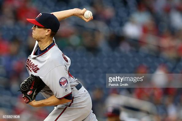 Starting pitcher Kyle Gibson of the Minnesota Twins works the first inning against the Washington Nationals at Nationals Park on April 22 2016 in...