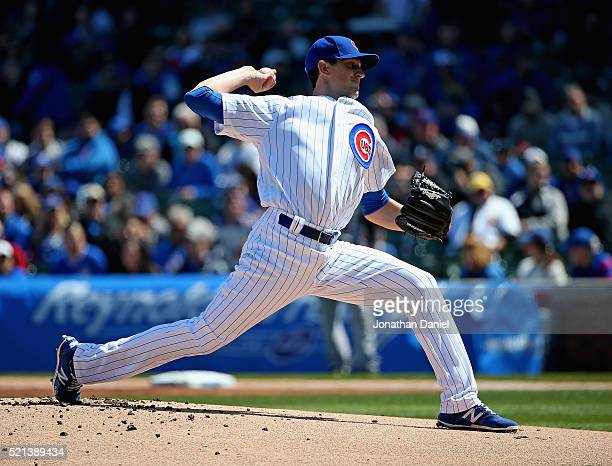 Starting pitcher Kyle Hendricks of the Chicago Cubs delivers the ball against the Colorado Rockies at Wrigley Field on April 15 2016 in Chicago...
