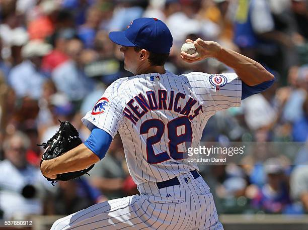 Starting pitcher Kyle Hendricks of the Chicago Cubs delivers the ball against the Los Angeles Dodgers at Wrigley Field on June 2 2016 in Chicago...