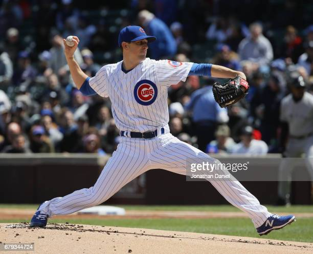 Starting pitcher Kyle Hendricks of the Chicago Cubs delivers the ball against the New York Yankees at Wrigley Field on May 5 2017 in Chicago Illinois