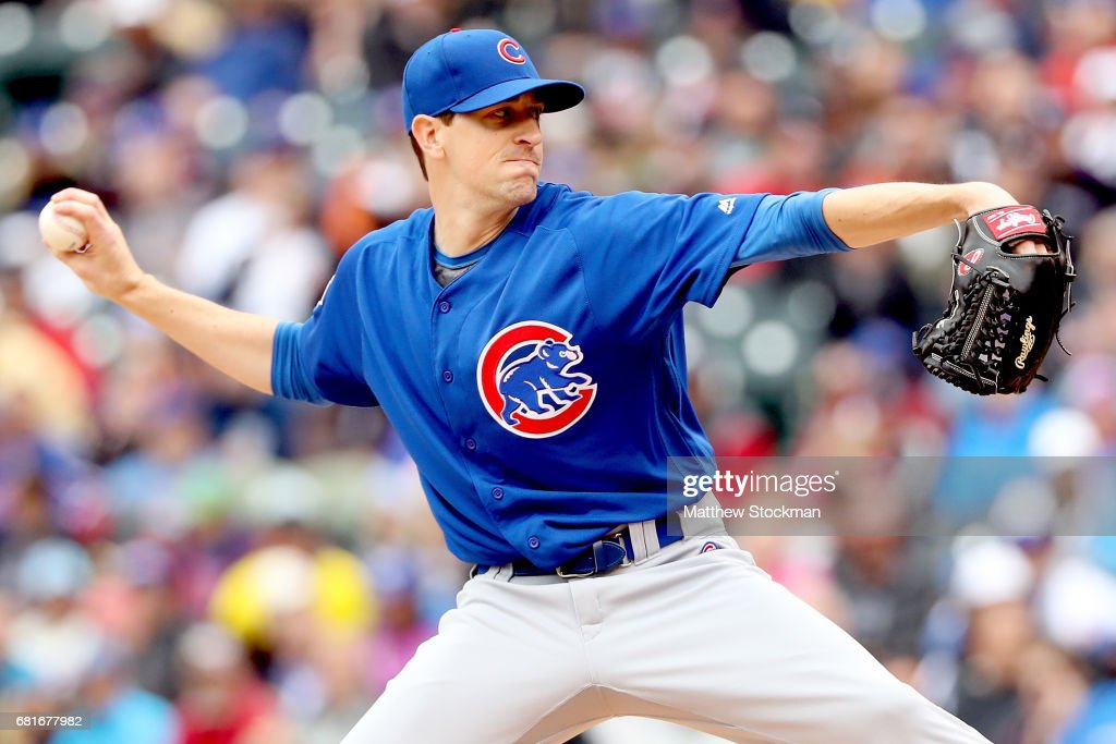 Starting pitcher Kyle Hendricks #28 of the Chicago Cubs throws in the fifth inning against the Colorado Rockies at Coors Field on May 10, 2017 in Denver, Colorado.