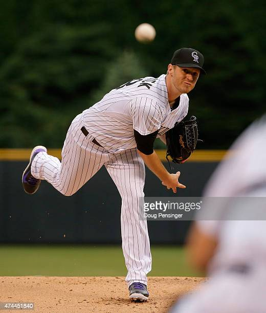 Starting pitcher Kyle Kendrick of the Colorado Rockies delivers against the San Francisco Giants at Coors Field on May 22 2015 in Denver Colorado The...