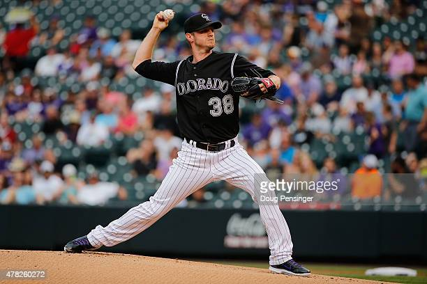 Starting pitcher Kyle Kendrick of the Colorado Rockies delivers against the Arizona Diamondbacks at Coors Field on June 23 2015 in Denver Colorado...