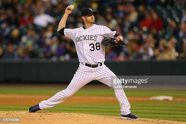 Starting pitcher Kyle Kendrick of the Colorado Rockies delivers to home plate during the third inning against the San Diego Padres at Coors Field on...