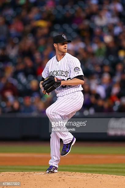 Starting pitcher Kyle Kendrick of the Colorado Rockies pitches against the San Diego Padres at Coors Field on April 22 2015 in Denver Colorado