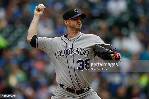 Starting pitcher Kyle Kendrick of the Colorado Rockies pitches against the Seattle Mariners in the first inning at Safeco Field on September 13 2015...