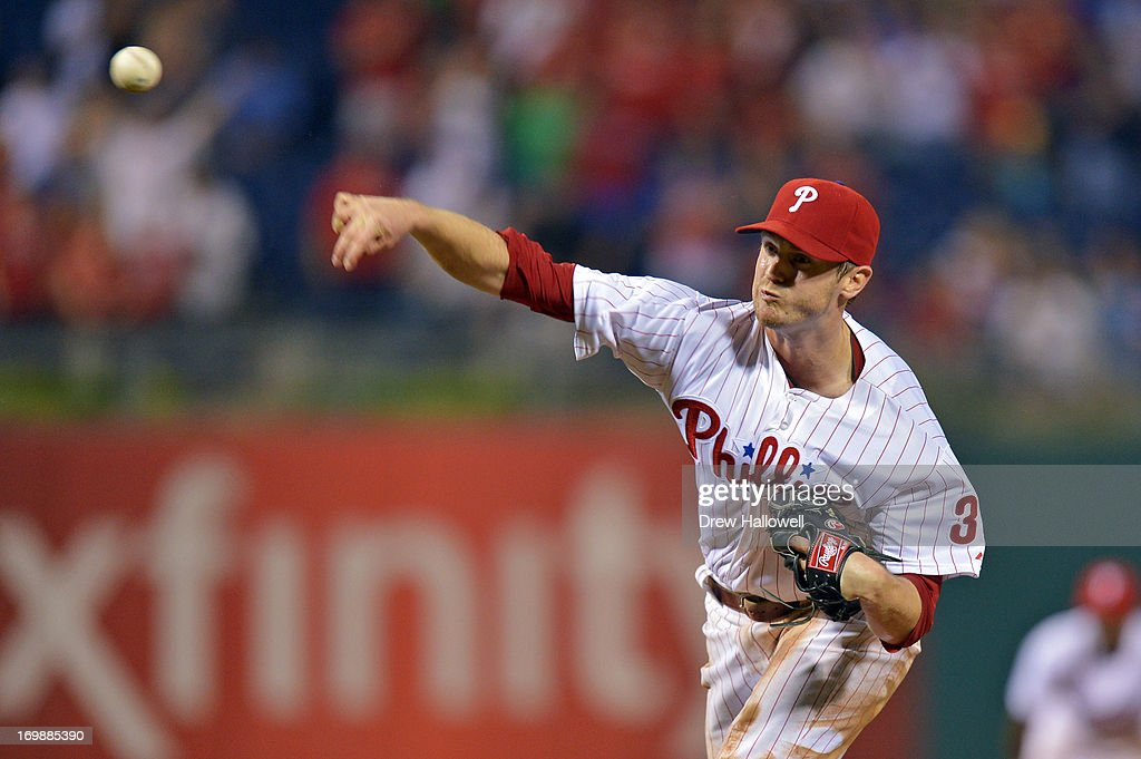 Starting pitcher <a gi-track='captionPersonalityLinkClicked' href=/galleries/search?phrase=Kyle+Kendrick&family=editorial&specificpeople=4365300 ng-click='$event.stopPropagation()'>Kyle Kendrick</a> #38 of the Philadelphia Phillies delivers the final pitch of the game against the Miami Marlins at Citizens Bank Park on June 3, 2013 in Philadelphia, Pennsylvania.