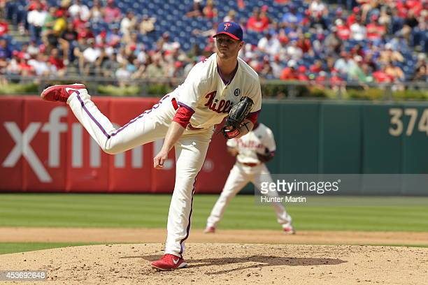 Starting pitcher Kyle Kendrick of the Philadelphia Phillies during a game against the New York Mets at Citizens Bank Park on August 10 2014 in...