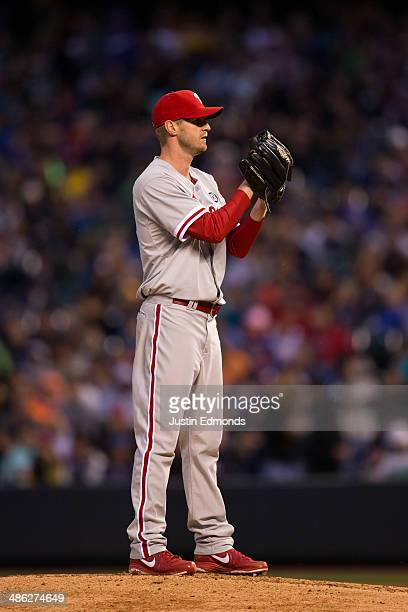 Starting pitcher Kyle Kendrick of the Philadelphia Phillies in action during the game against the Colorado Rockies at Coors Field on April 19 2014 in...