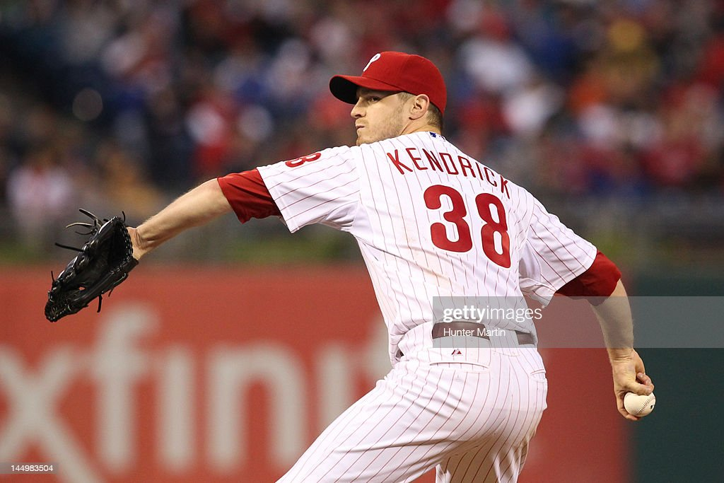Starting pitcher <a gi-track='captionPersonalityLinkClicked' href=/galleries/search?phrase=Kyle+Kendrick&family=editorial&specificpeople=4365300 ng-click='$event.stopPropagation()'>Kyle Kendrick</a> #38 of the Philadelphia Phillies throws a pitch during a game against the Washington Nationals at Citizens Bank Park on May 21, 2012 in Philadelphia, Pennsylvania.