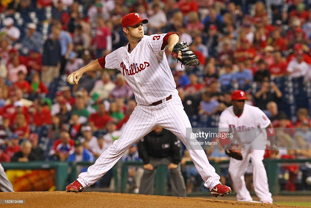 Starting pitcher <a gi-track='captionPersonalityLinkClicked' href=/galleries/search?phrase=Kyle+Kendrick&family=editorial&specificpeople=4365300 ng-click='$event.stopPropagation()'>Kyle Kendrick</a> #38 of the Philadelphia Phillies throws a pitch during a game against the Washington Nationals at Citizens Bank Park on September 26, 2012 in Philadelphia, Pennsylvania.