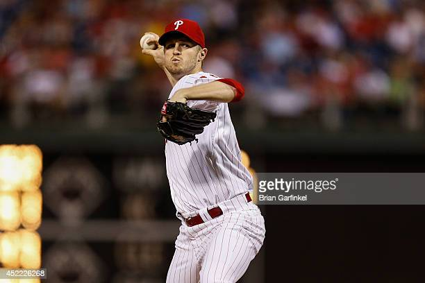 Starting pitcher Kyle Kendrick of the Philadelphia Phillies throws a pitch during the game against the Atlanta Braves at Citizens Bank Park on June...