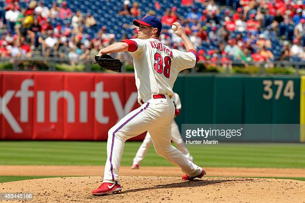 Starting pitcher Kyle Kendrick of the Philadelphia Phillies throws a pitch in the third inning during a game against the New York Mets at Citizens...