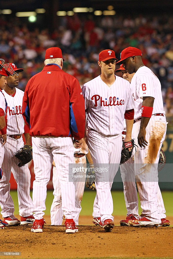 Starting pitcher Kyle Kendrick #38 of the Philadelphia Phillies walks off the mound after being taken out during a game against the Washington Nationals at Citizens Bank Park on September 26, 2012 in Philadelphia, Pennsylvania.