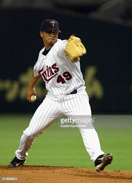 Starting Pitcher Kyle Lohse of the Minnesota Twins pitches during the 2nd game of the exhibition series between US MLB and Japanese Professional...