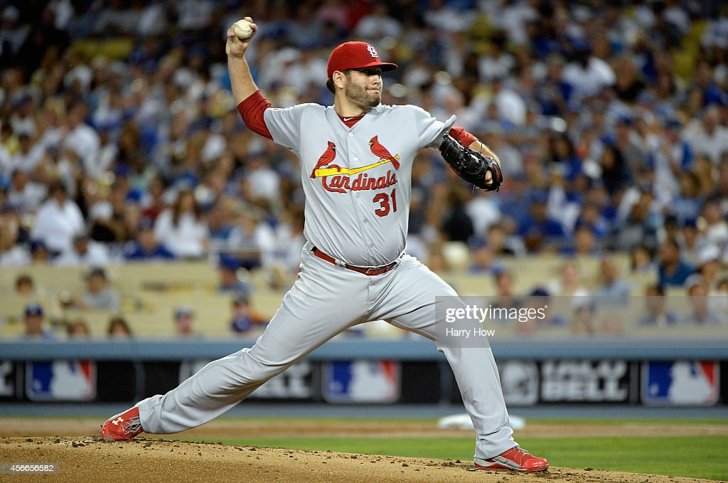 Starting pitcher Lance Lynn of the St Louis Cardinals throws against the Los Angeles Dodgers in the first inning of Game Two of the National League...