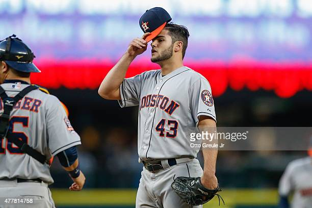 Starting pitcher Lance McCullers of the Houston Astros adjusts his cap prior to being removed from the game in the fifth inning against the Seattle...