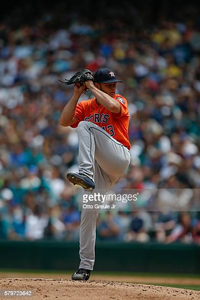 Starting pitcher Lance McCullers of the Houston Astros pitches against the Seattle Mariners at Safeco Field on July 16 2016 in Seattle Washington