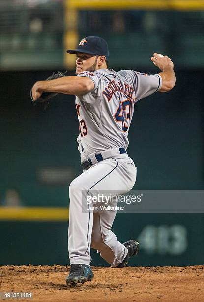 Starting pitcher Lance McCullers of the Houston Astros throws a pitch during a MLB game against the Arizona Diamondbacks on October 4 2015 at Chase...