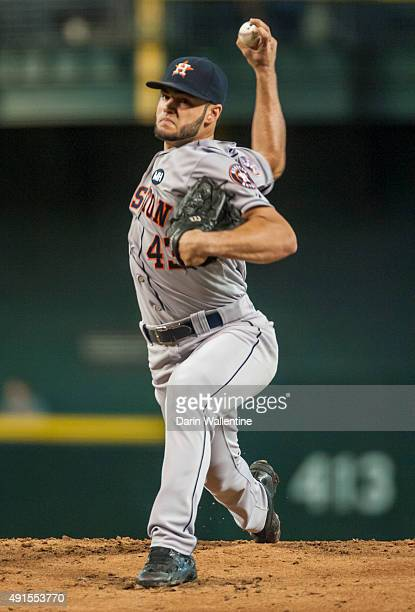 Starting pitcher Lance McCullers of the Houston Astros throws a pitch during the first inning of a MLB game against the Arizona Diamondbacks on...