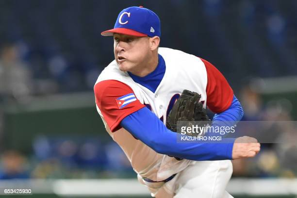Starting pitcher Lazaro Blanco of Cuba throws in the top of the first inning during the World Baseball Classic Pool E second round match between Cuba...