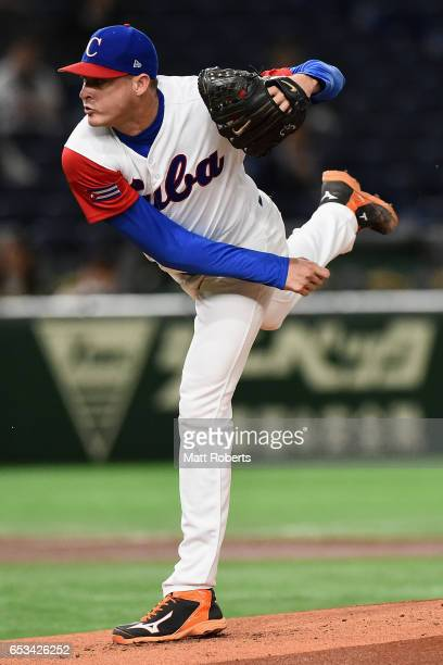 Starting Pitcher Lazaro Blanco of Cuba throws in the top of the first inning during the World Baseball Classic Pool E Game Five between Netherlands...