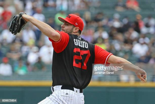 Starting pitcher Lucas Giolito of the Chicago White Sox delivers the ball against the Detroit Tigers at Guaranteed Rate Field on August 27 2017 in...