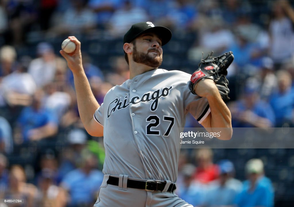 Starting pitcher Lucas Giolito #27 of the Chicago White Sox pitches during the 1st inning of the game against the Kansas City Royals at Kauffman Stadium on September 13, 2017 in Kansas City, Missouri.