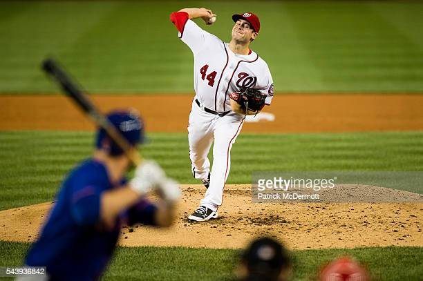 Starting pitcher Lucas Giolito of the Washington Nationals throws a pitch to a New York Mets batter in the third inning during his Major League debut...