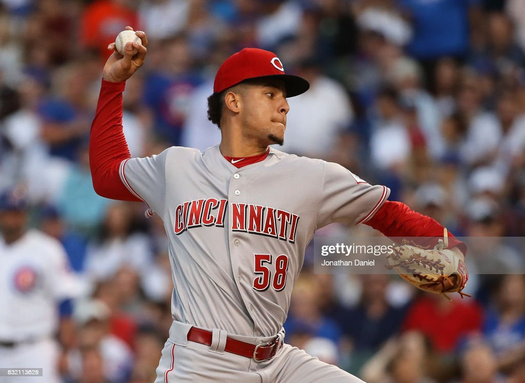 Starting pitcher Luis Castillo #58 of the Cincinnati Reds delivers the ball against the Chicago Cubs at Wrigley Field on August 15, 2017 in Chicago, Illinois.