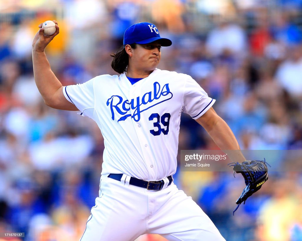Starting pitcher Luis Mendoza of the Kansas City Royals in action during the game against the Atlanta Braves at Kauffman Stadium on June 26 2013 in...
