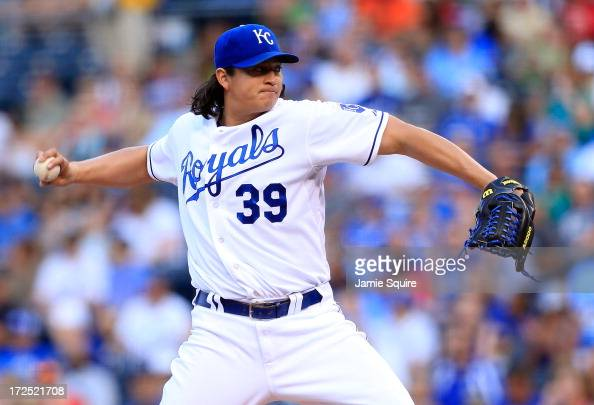Starting pitcher Luis Mendoza of the Kansas City Royals in action during the game against the Cleveland Indians at Kauffman Stadium on July 2 2013 in...