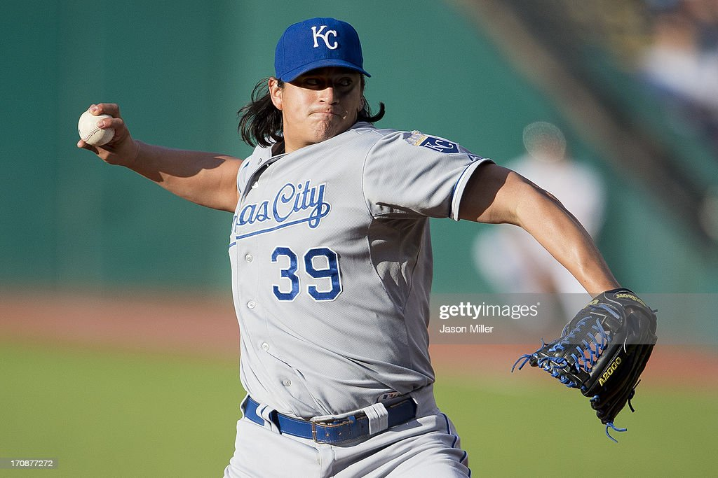 Starting pitcher Luis Mendoza of the Kansas City Royals pitches during the first inning against the Cleveland Indians at Progressive Field on June 19...