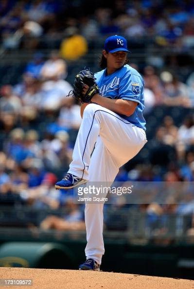 Starting pitcher Luis Mendoza of the Kansas City Royals pitches during the game against the Oakland Athletics at Kauffman Stadium on July 7 2013 in...