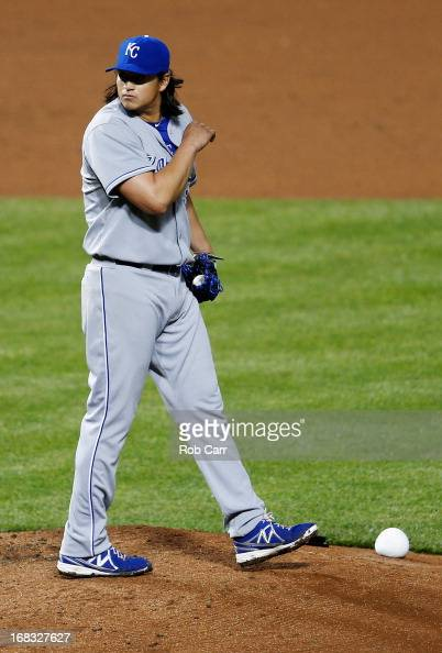 Starting pitcher Luis Mendoza of the Kansas City Royals reacts after giving up a run to the Baltimore Orioles in the fifth inning at Oriole Park at...
