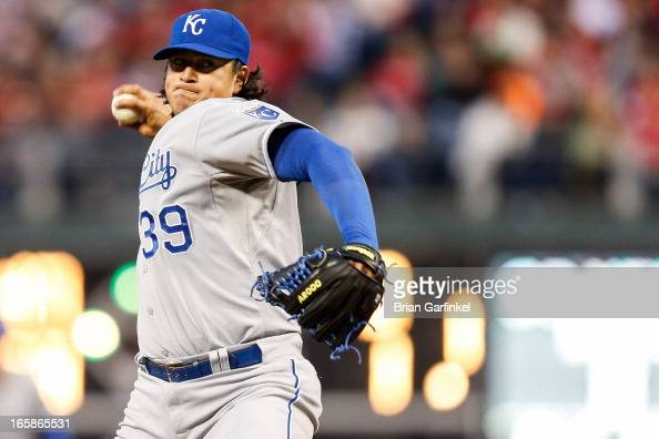 Starting pitcher Luis Mendoza of the Kansas City Royals throws a pitch during the game against the Philadelphia Phillies at Citizens Bank Park on...