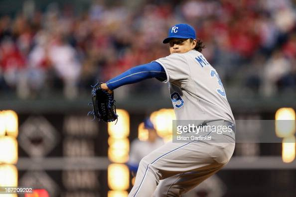 Starting pitcher Luis Mendoza of the Kansas City Royals throws a pitch during the interleague game against the Philadelphia Phillies at Citizens Bank...